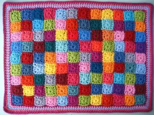 Mini granny square blanket by Lucy at Attic24.typepad.com