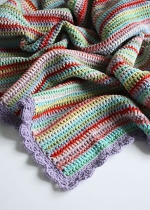 Vintage crochet stripe blanket Raverly.com