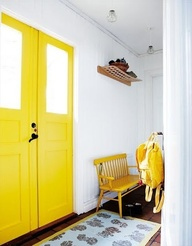 Gorgeous splash of colour with yellow doorssodarling.blogspot.com