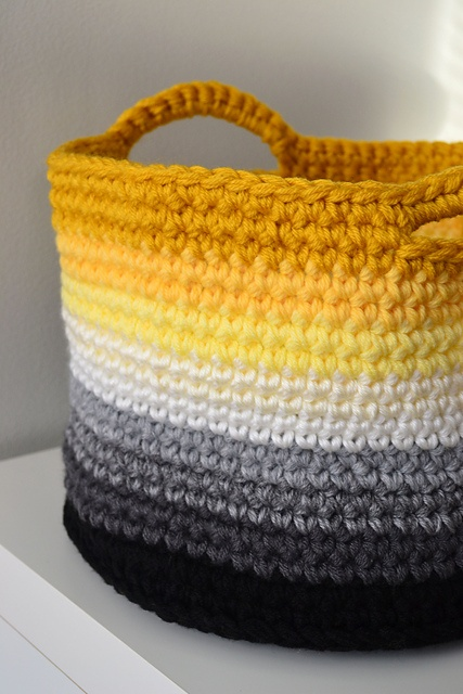 Ombre yellow crochet basketcrochetincolour.blogspot.com.au
